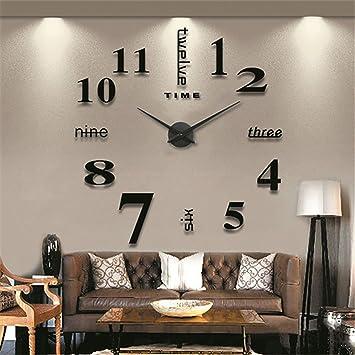 GUFAN Modern Mute DIY Large Wall Clock 3D Sticker Home Office Decor