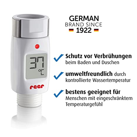 Euret 70613 - Termómetro digital para ducha y baño con alarma óptica y acústica