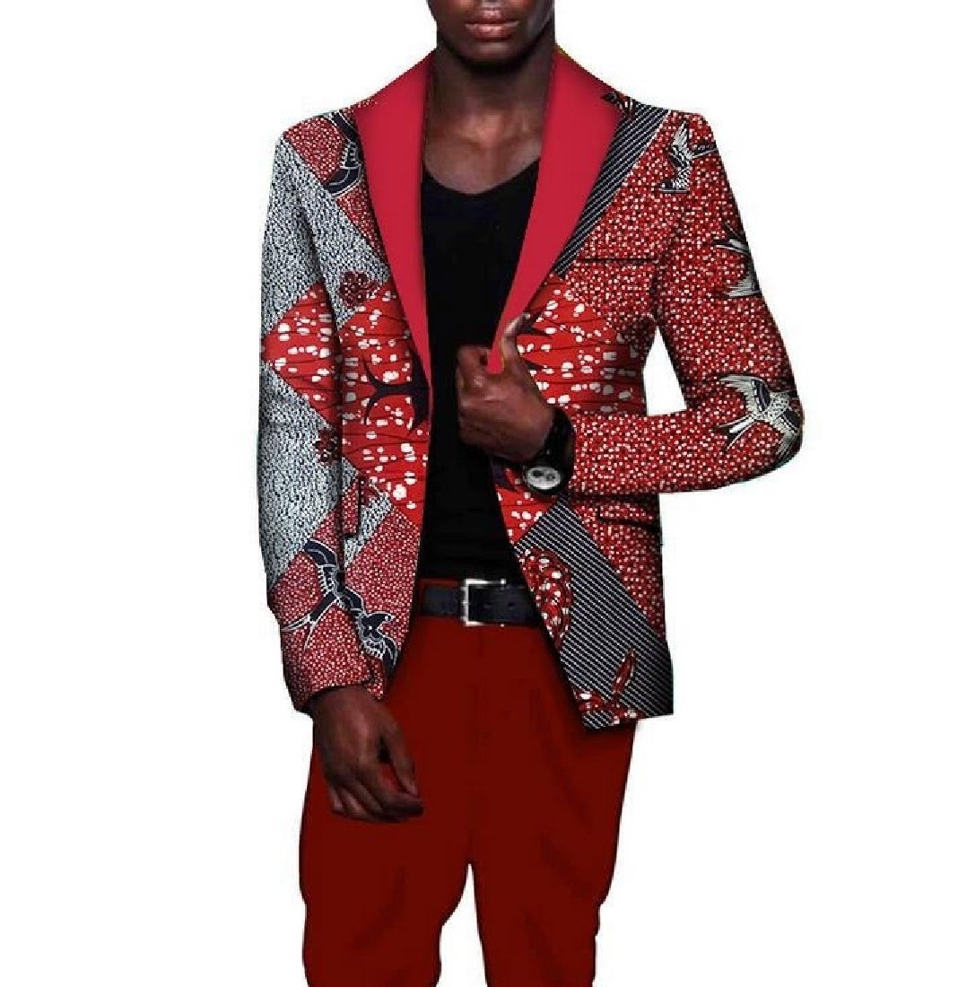 Tootless Men Africa Stylish Coat Plus Size Dashiki Slim Premium Suit Jacket 15 L