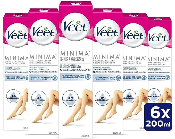Veet Crema Depilatoria Corporal para Mujer con Aloe Vera y Vitamina E, Pieles sensibles, 6 x 200 ml, hasta 20 Semanas de Suavidad: Amazon.es: Salud y cuidado personal