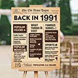 30th Birthday Poster - 30 Years Ago 30th Birthday Wedding Anniversary Poster Back In 1991 Sign, 30 Years Party Decoration Sup