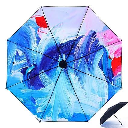 DYEWD Paraguas,Paraguas de plástico Negro, Paraguas UV de Protección Solar, Paraguas de