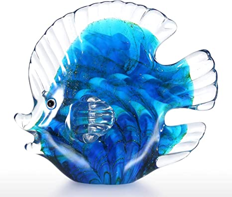 Sculptures Home Decor Blue Tropical Fish Glass Sculpture Home Decoration Glass Fish Ornament Gift Art Craft Glass Sculpture For Home Office Amazon Ca Home Kitchen