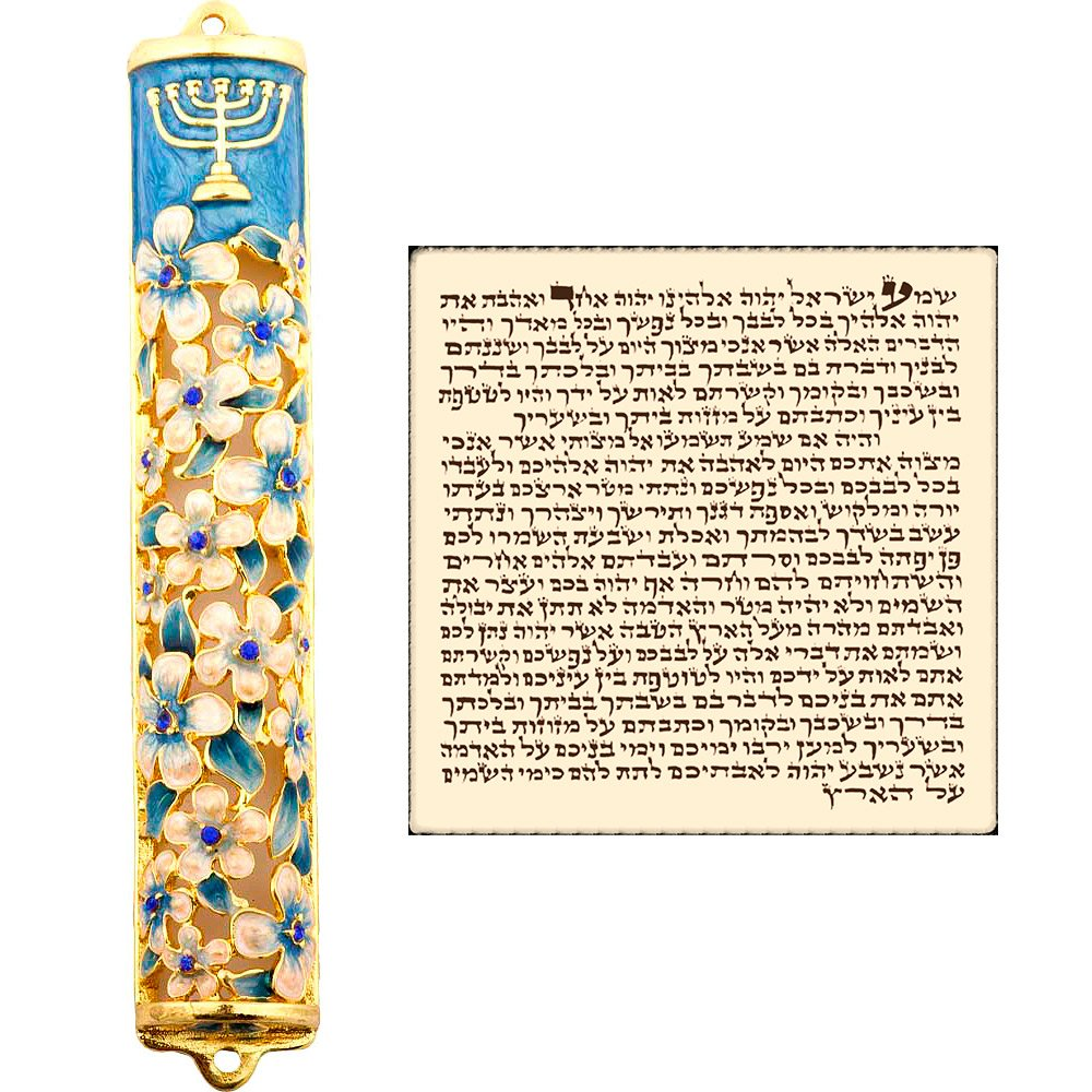 Talisman4U Blue Enamel MEZUZAH CASE with Scroll Hebrew Parchment Menorah Judaica Door Mezuza Made In Israel 9 cm Original Karshi Jerusalem BMM9i