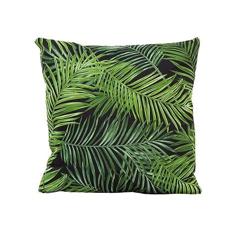 Funda de Almohada, ❤️ Manadlian ❤️ Cojín Tropical Verde Hojas de Planta Manta Funda de Almohada para sofá Coche decoración para el hogar (E)
