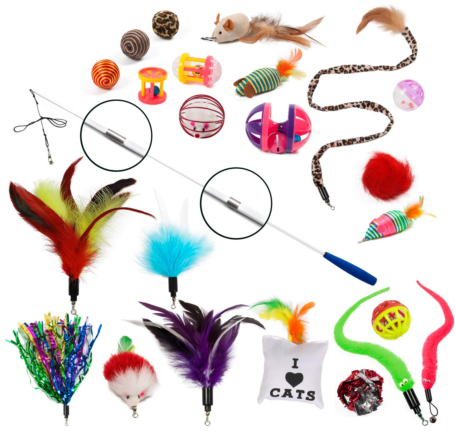 EcoCity Cat Toys - Cat Feather Toys - 24 pieces, Retractable Cat wand Natural Feather Refills other Cat Toys Pet Supply (24 pieces)