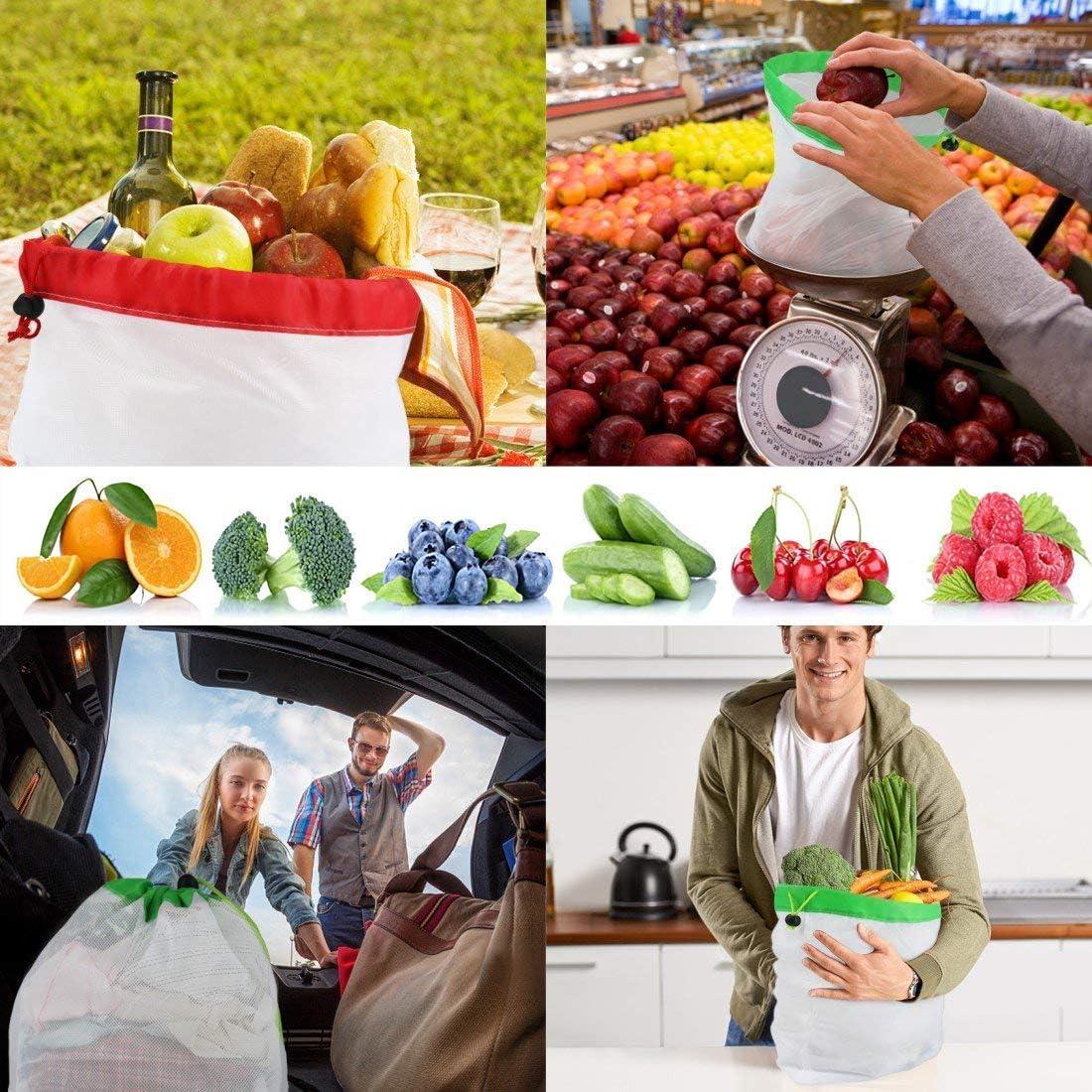Awinker 12 Piezas Bolsas Compra Reutilizables Bolsa de Malla para Almacenamiento Fruta Verduras Juguetes Lavable y Transpirable 3 Diversos Tama?os