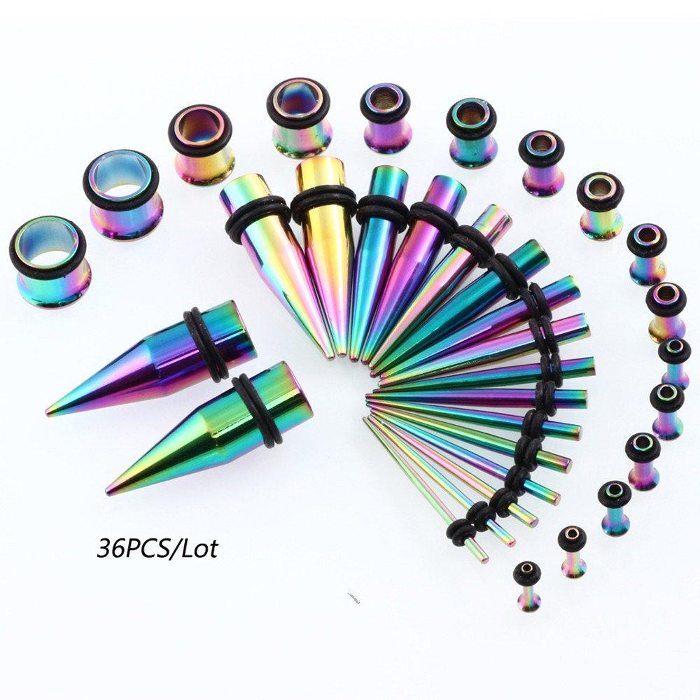 Vcmart 36pc Titanio Oreja calibres Kit tapers de Acero Inoxidable con Tapones 14g-00g Estiramiento Kit