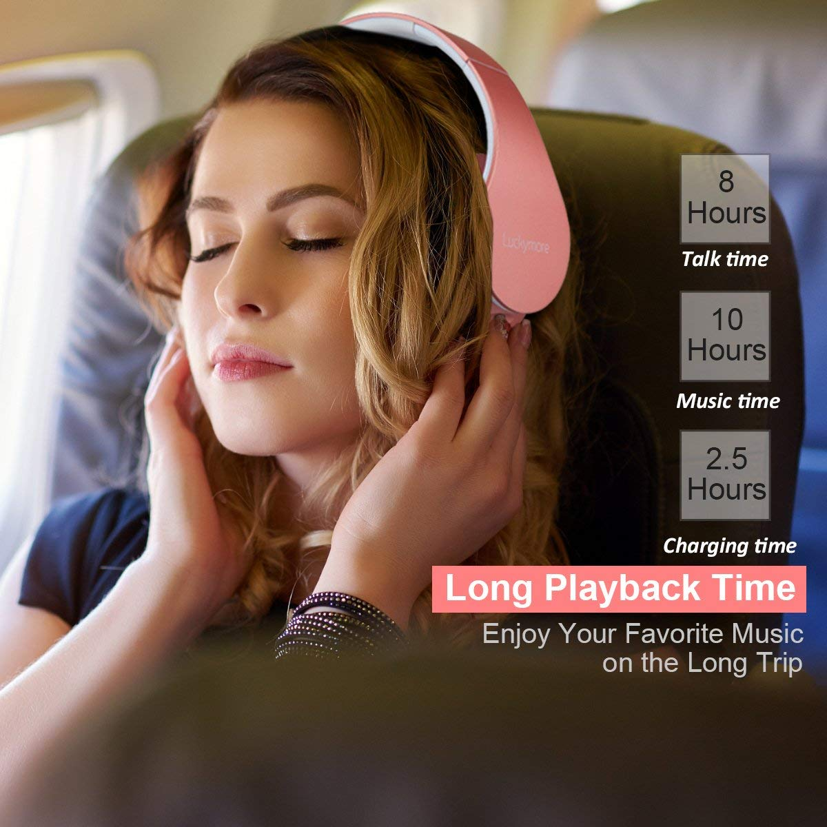 Bluetooth Headphones Over Ear, Foldable Wireless Headphones Stereo Hi-Fi Bluetooth Headsets with Bass, Mic and Soft Earmuffs for Girl Women Wired Mode Cell Phone TV Computer Laptop Android Rose Gold
