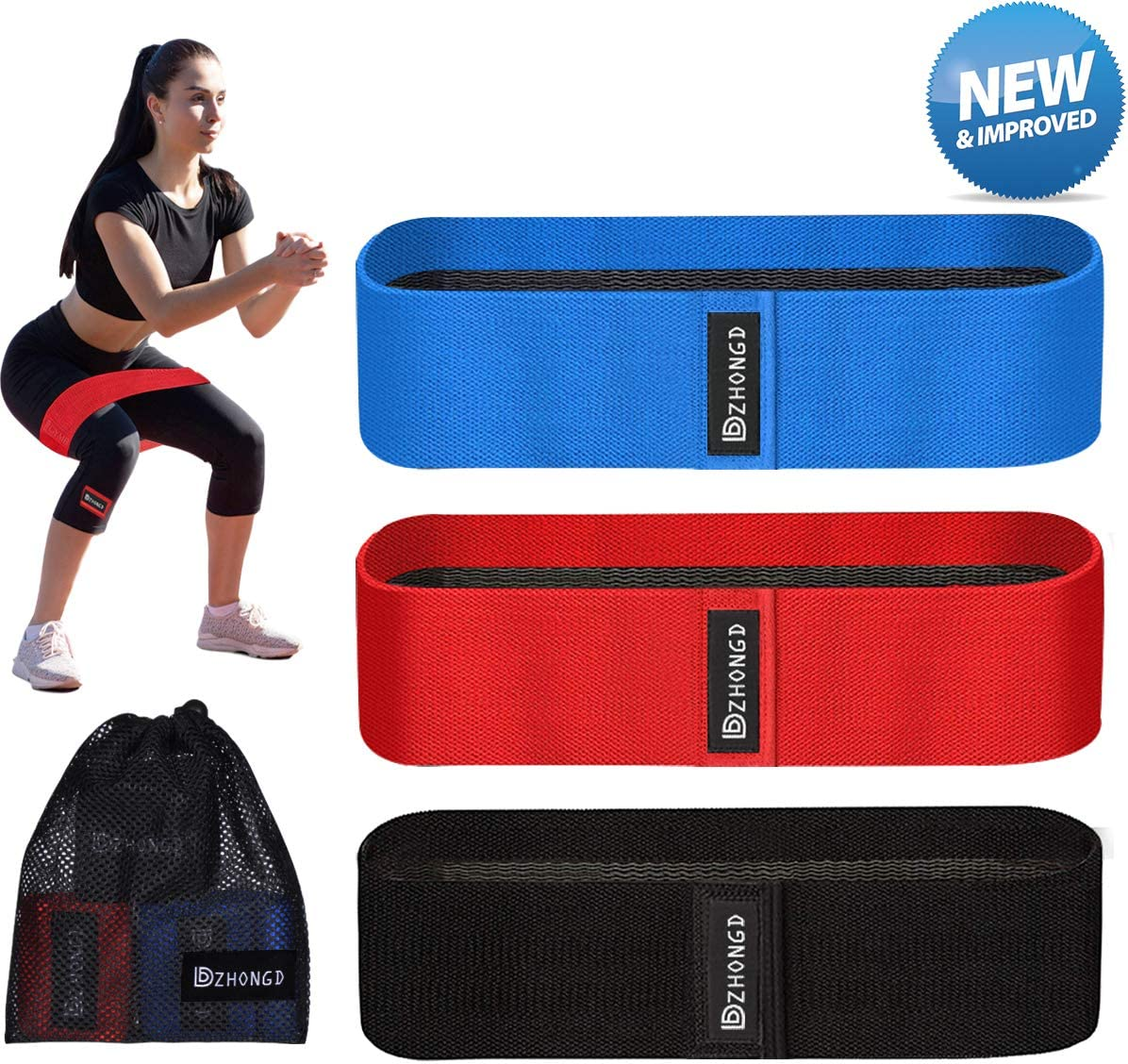 Fabric Non-Slip Non-Rolling Loop Hip Booty Glutes Workout Exercise Bands DZHONGD Resistance Bands for Legs Butt