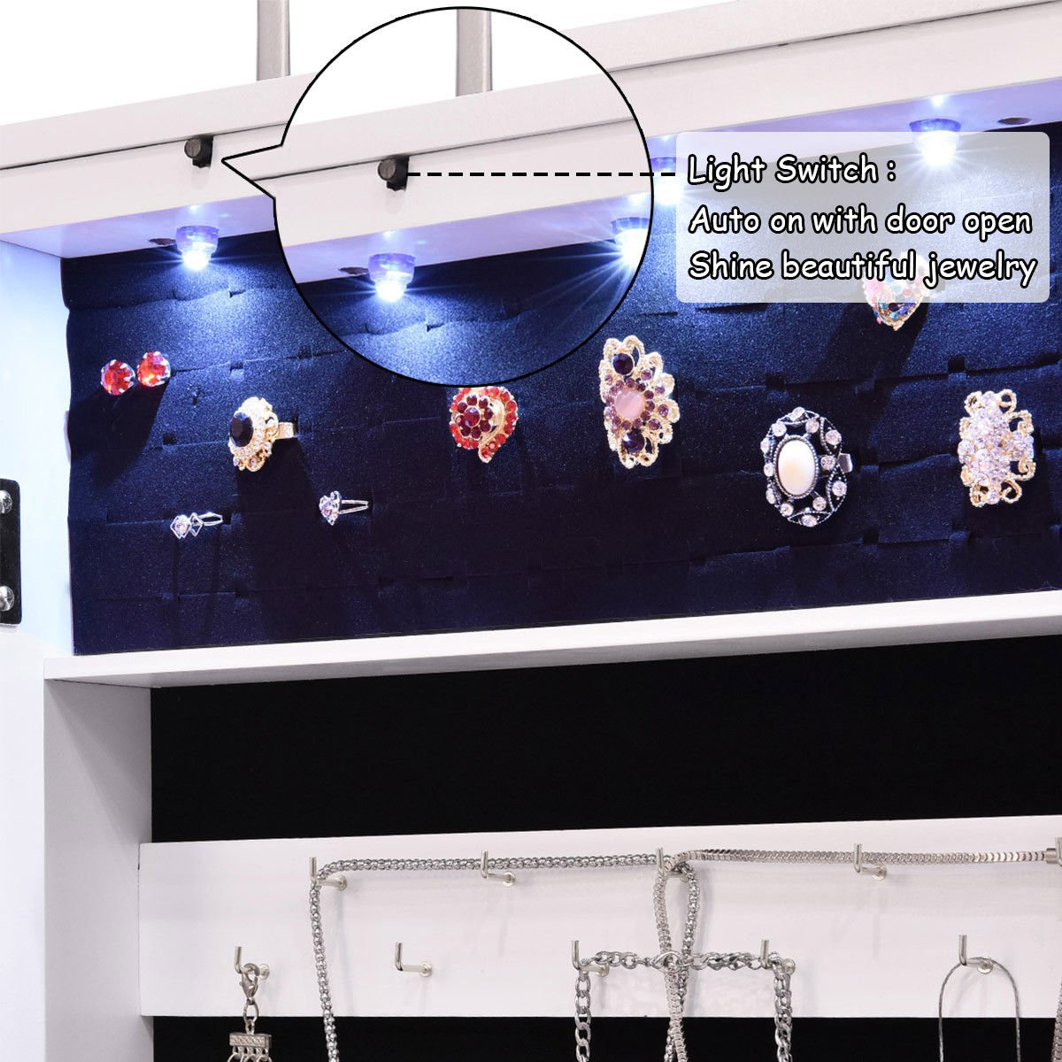 Giantex Wall Door Mounted Jewelry Armoire Organizer with Mirror Locking Organizer with LED Lights by Giantex (Image #8)