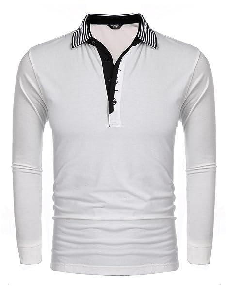 f70fbd00e127 Coofandy Herren Poloshirt Langarm mit Knopfleiste Langarmshirt Polohemd T- Shirt mit Kontrastfarbe Henleyshirt Longsleeve  Amazon.de  Bekleidung