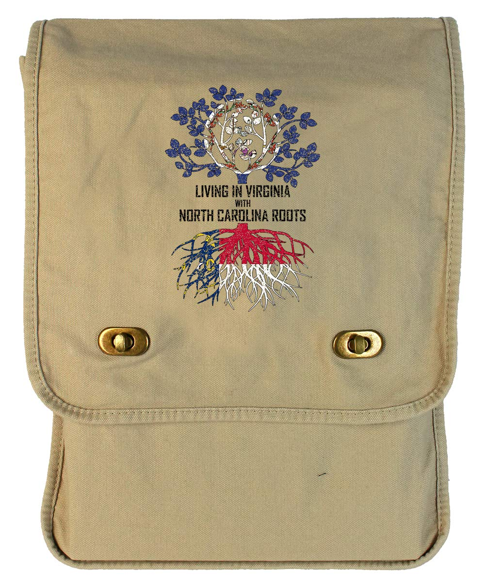Tenacitee Living In Virginia with North Carolina Roots Grey Brushed Canvas Messenger Bag