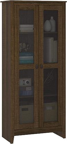 FlexLiving Golden Valley 31.5 Wide Storage Cabinet with Mesh Doors, Brown Oak