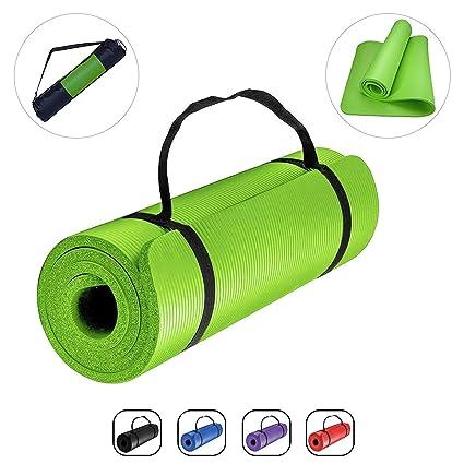 ROMIX Esterilla Yoga, 10MM Grueso Antideslizante Exercise Mat con Bolsa de Transporte y Correa, Ecológica Colchoneta de Yoga para Pilates Fitness ...