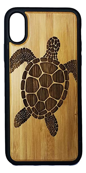 best service 687ef a3263 SEA Turtle Phone Case Cover for iPhone X by iMakeTheCase | Tribal Tattoo  Ocean Sea Hawaiian Honu | Eco-Friendly Bamboo Wood + TPU Wrapped Edges Cell  ...