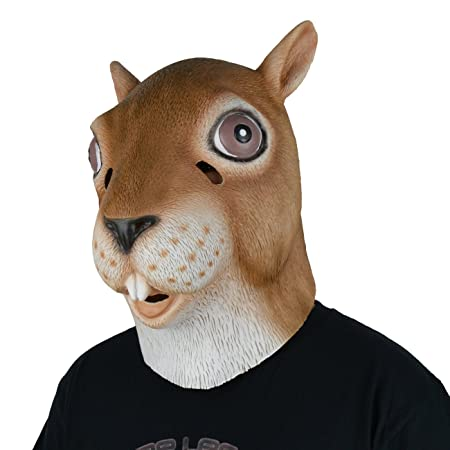 larpgears halloween costume party rubber animal squirrel head latex mask