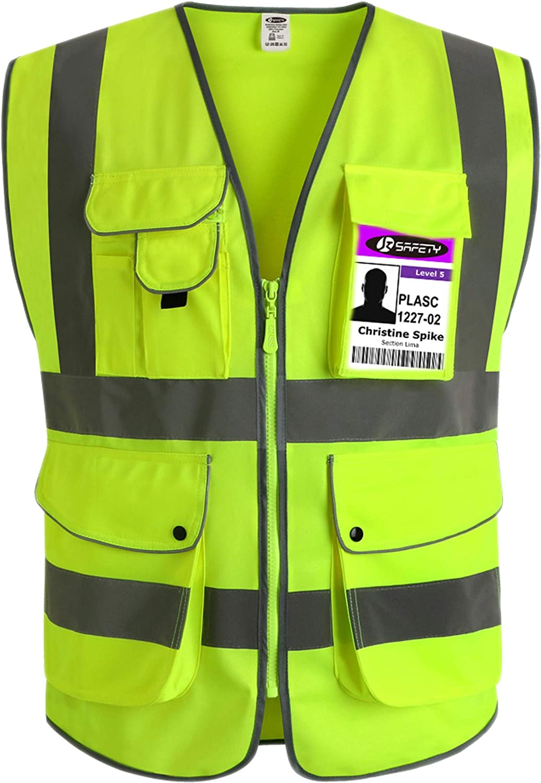 Hycoprot Hi Vis Viz High Visibility Reflective Mesh Safety Vest Waistcoat Executive Manager Jacket Workwear Zip 2 Band Brace Security Mobile Phone Pocket ID Holder-XL,Orange