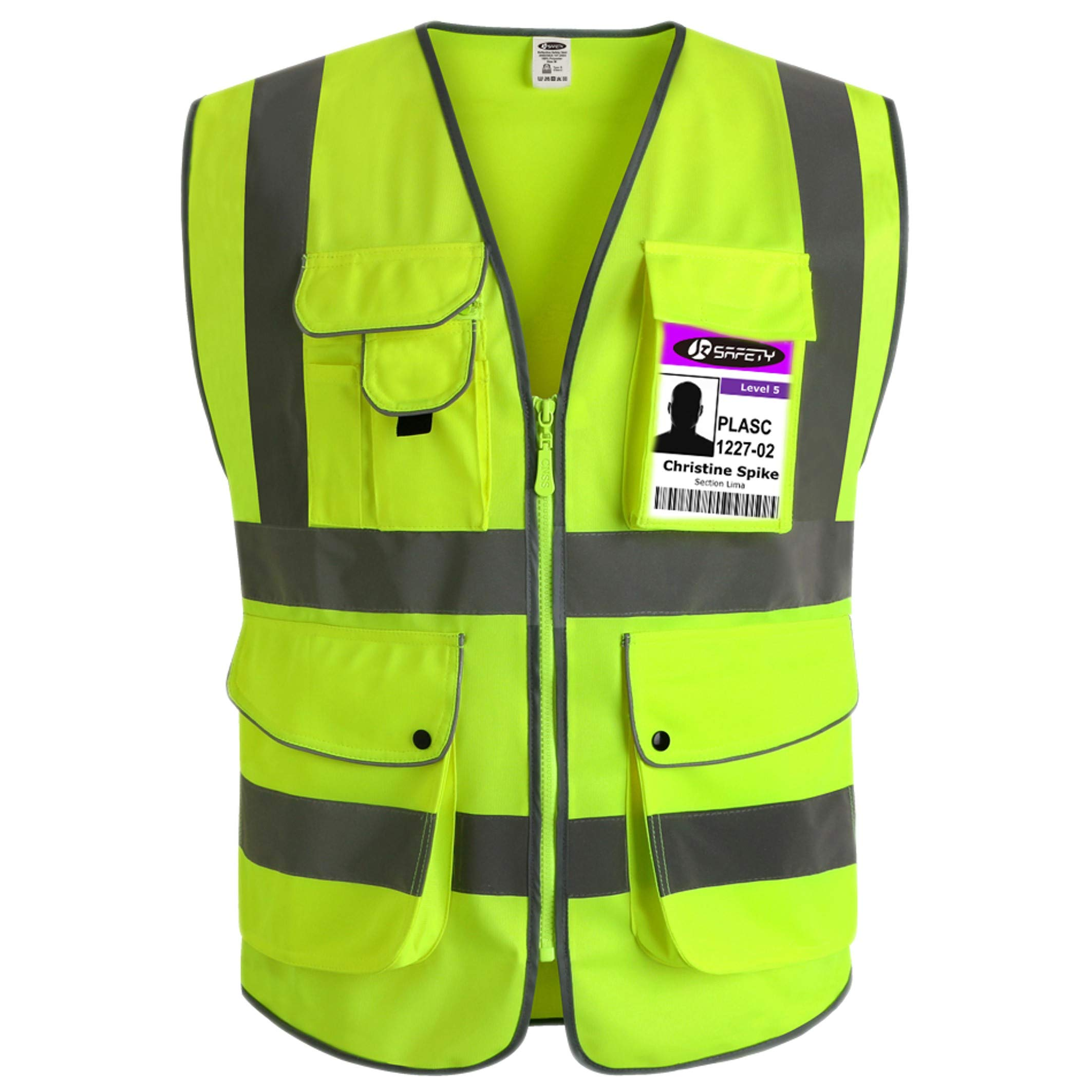 JKSafety 9 Pockets Class 2 High Visibility Zipper Front Safety Vest With Reflective Strips, Yellow Meets ANSI/ISEA Standards (Large) by JKSafety