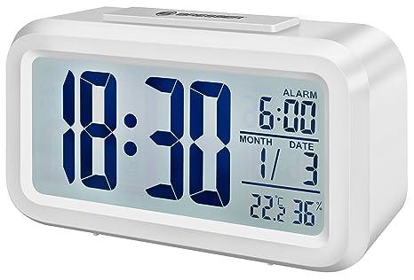 Bresser MyTime - Reloj Despertador con Pantalla LCD, Color Blanco (Importado)