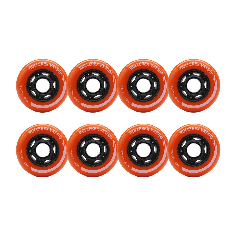Rollerex Inline Skate/Rollerblade Wheels VXT500 80mm (8-Pack or 2-Pack or 2 Wheels w/Bearings, Spacers and Washers) (72mm Sunrise Orange (8 Wheels))