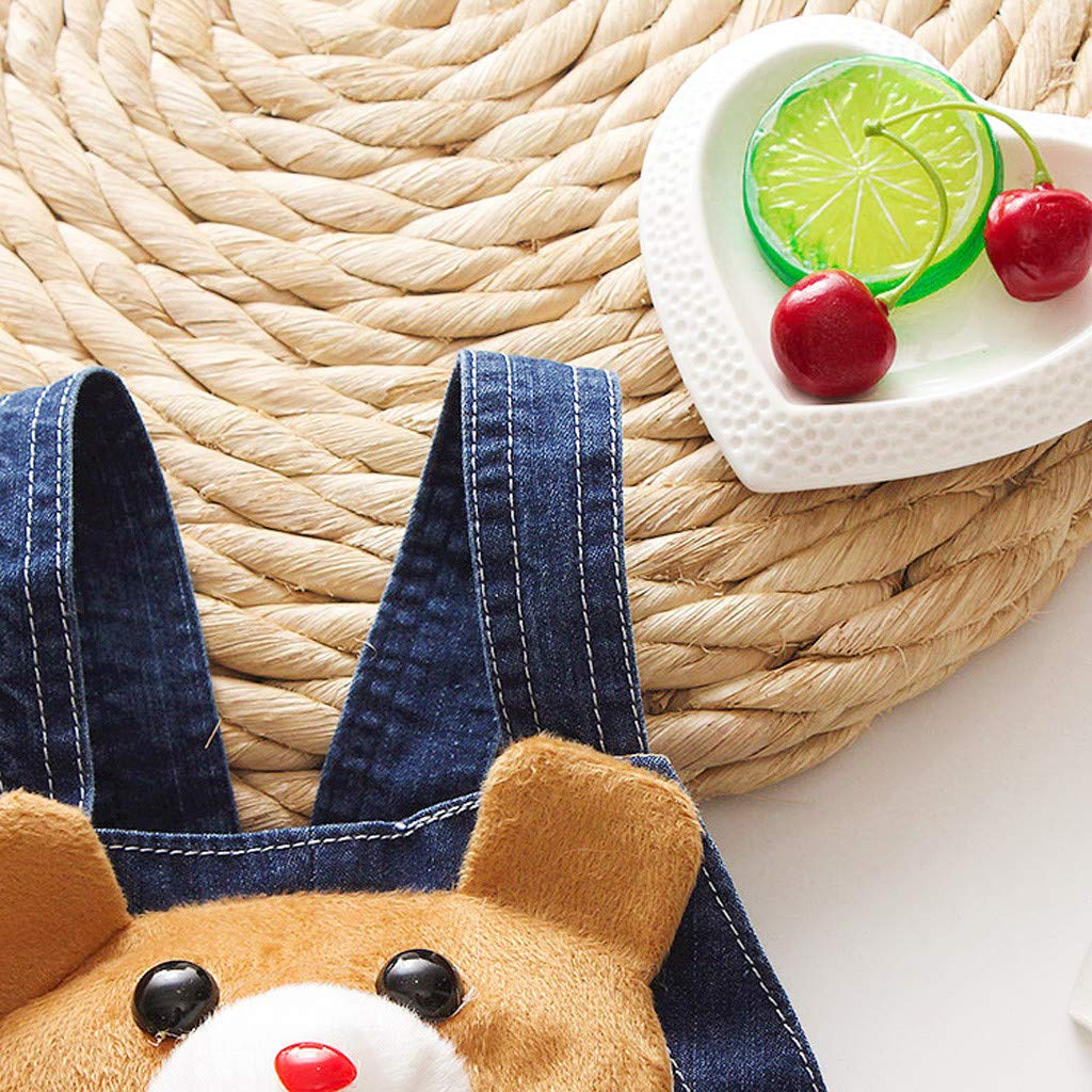 Kids Girls and Boys Cartoon Animal Sleeveless Jeans Denim Overalls Backless Jumpsuit with Botton,Shorts Children Summer Trousers Pants Beachwear Party Shorts Knickers waitFOR Trousers for Girls