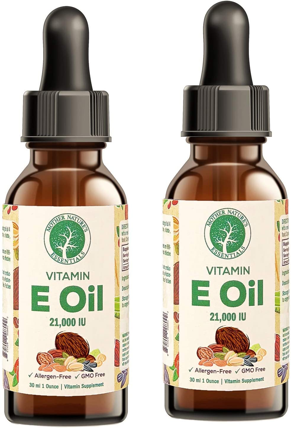 Vitamin E Oil by Mother Nature's Essentials, Supports The Bodies Natural Immune System, 21,00IU Vitamin E, Uses Orally or Topical, 1 oz. 2 Pack.