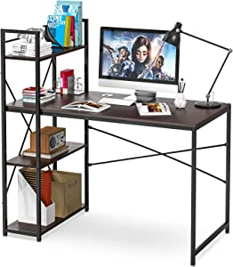 Computer Desk with Shelves, 47 Inch Writing Study Table Desk for Bedrooms, Modern Style PC Laptop Home Office Desk with Bookshelf (Brown-B)
