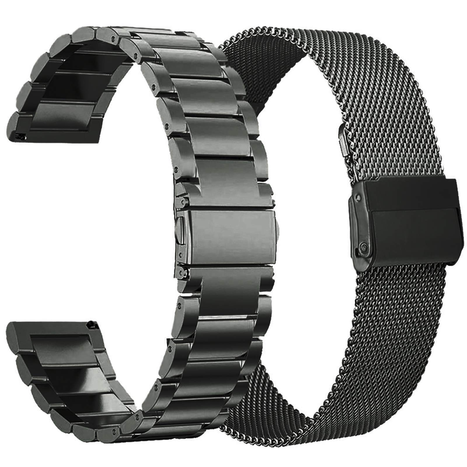 Koreda Compatible with Samsung Galaxy Watch 42mm/Galaxy Watch 3 41mm/Active 40mm/Active 2 40mm 44mm Bands Sets, 20mm Stainless Steel Metal Band + Mesh Loop Replacement Bracelet Strap for Gear Sport
