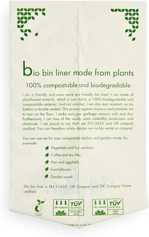 Plantvibes ® Bolsas de Basura compostables 100 Bolsas de Basura ...