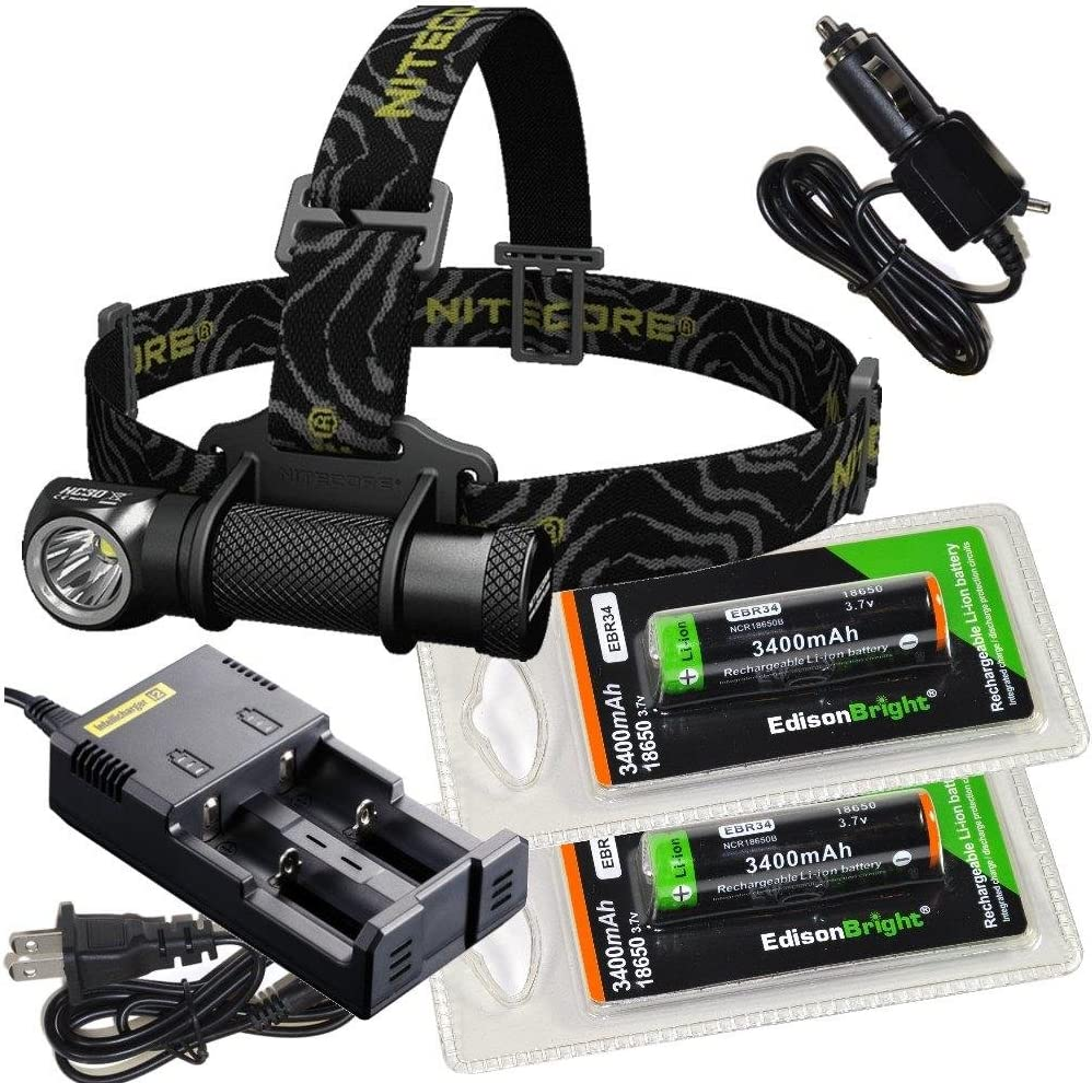 EdisonBright Nitecore HC30 1000 Lumens CREE LED headlamp with 2 X EBR34 18650 3400mAh Li-ion rechargeable batteries,Nitecore i2 intelligent Charger, Car Charging Cable bundle