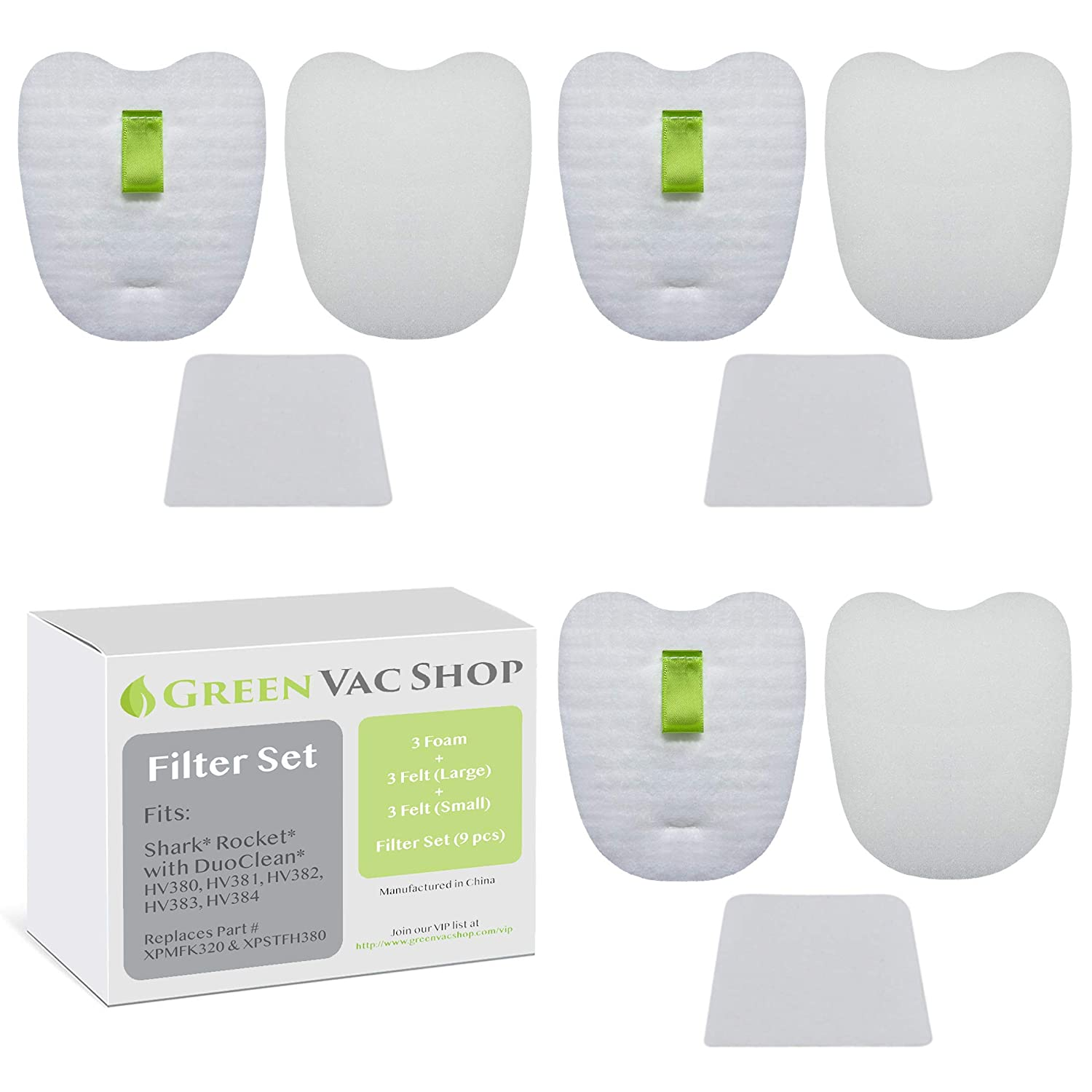 GreenVacShop Shark Rocket DuoClean HV380, HV380W, HV381, HV382, HV383, HV384Q Updated Replacement Filter Set, 6 Pre-Filters (3 Foam+3 Felt) and 3 Post-Filters, Replaces Shark Part# XPMFK320 XPSTFH380