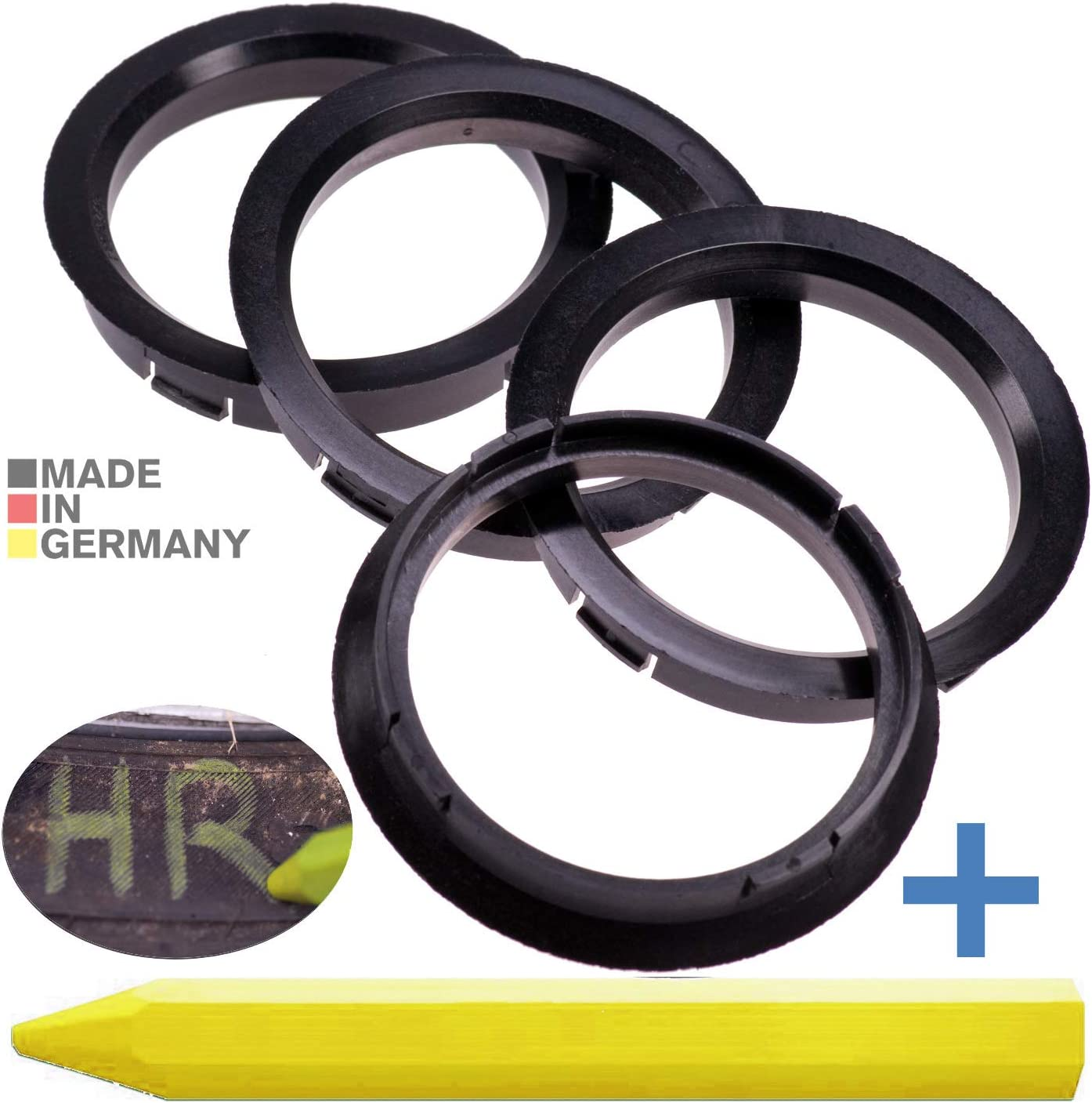 4x Zentrierringe Schwarz 72 5 Mm X 63 4 Mm 1x Reifen Kreide Fett Stift Auto