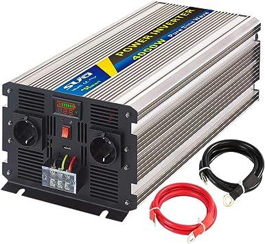 Yinleader inversor de Corriente Onda Pura 4000w Pico 8000W Transformador De 12v A 230v convertidor USB LED 2 Enchufe para Coche Caravana c/ámping de Viaje