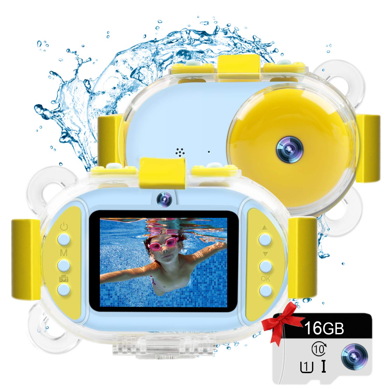 Kids Camera Gifts for Girls 1080P HD,Mini Rechargeable Children Shockproof Digital Front and Rear Selfie Camera Child Camcorder for 3-9 Year Old Kids Gifts waterproof 2.0'' LCD Screen (Blue waterproof) by LeaderPro