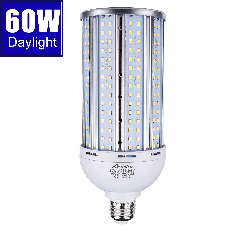 60W LED Corn Light Bulb for Indoor Outdoor Large Area, E26 6000Lm 6500K Cool White,Super Bright Daylight LED Corn Bulb for Garage Barn Workshop Warehouse Factory Porch Backyard High Bay, 85V-265V