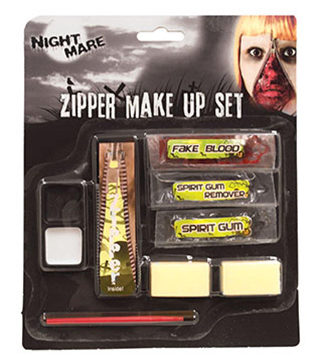 Confettery - Halloween Schminkset offener Reißverschluss- Zipper Make Up, Mehrfarbig