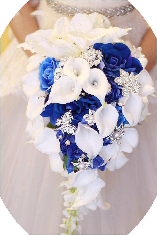 Amazon Com Blue Flower Calla Lily Wedding Bouquet Waterfall Romantic Designer Artificial Wedding Flowers Bridal Bouquet Blue Kitchen Dining
