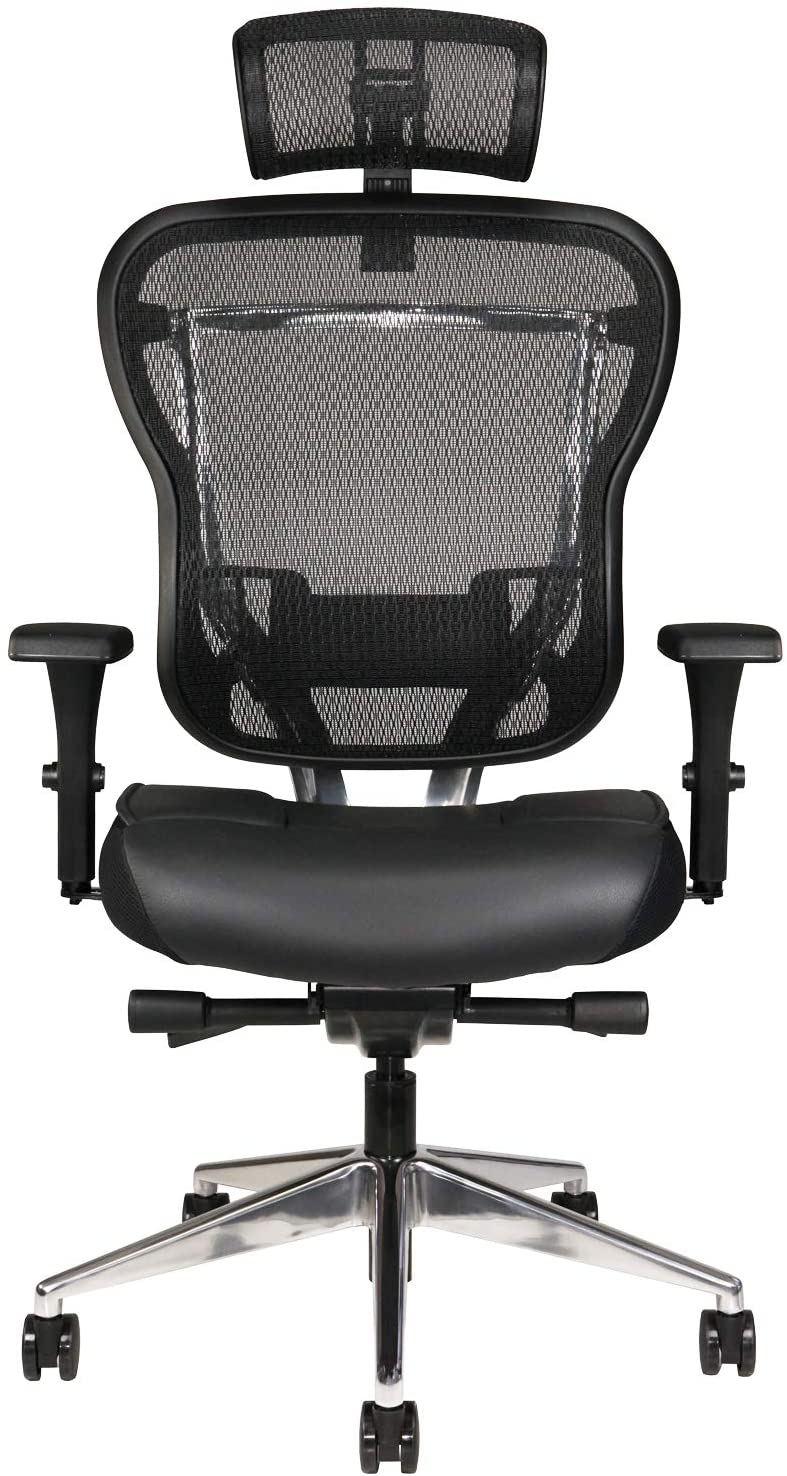 Oak Hollow Furniture Aloria Series Office Chair Ergonomic Executive Computer Chair with Headrest, Genuine Leather Seat Cushion, Mesh Back, Adjustable Lumbar Support Swivel and Tilt High-Back (Black)