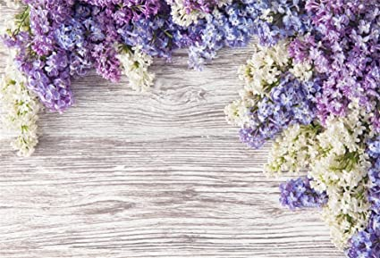 Lfeey 9x6ft Newborn Baby Wooden Plank Photography Backdrops Purple Lilac Flowers Bloom Bouquet Wooden Wall Girls Adults Portrait Photo Background
