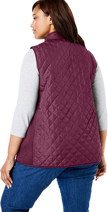 1X Woman Within Womens Plus Size Quilted Vest Ivory