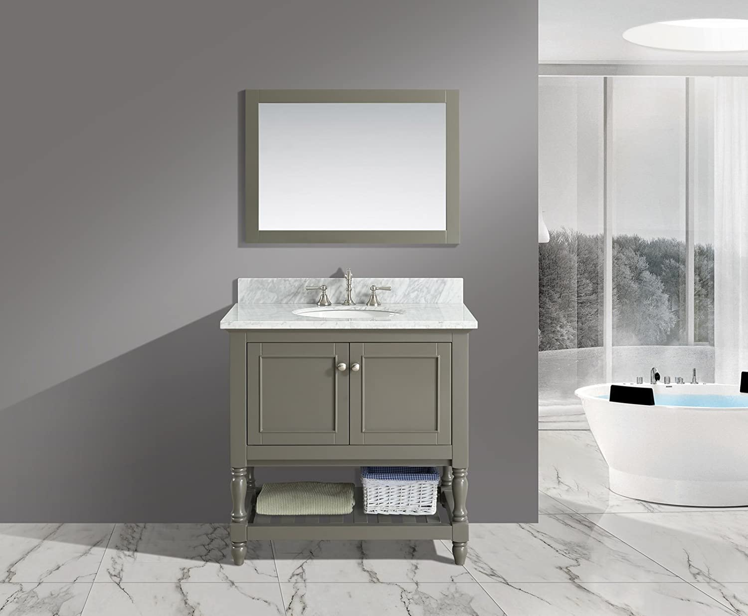 UrbanFurnishing.net – Silvia 36-Inch 36 Bathroom Sink Vanity Set with White Italian Carrara Marble Top – Distressed Gray