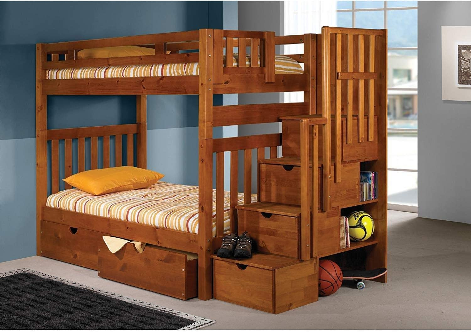 Donco Kids Tall Mission Stairway Bunk Dual Under Bed Drawers, Twin/Twin Honey