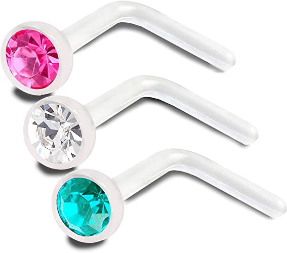 bodyjewellery 4pcs 20g 0.8mm Nose Screw Rings L Shaped Bioflex Flexible Nostril Piercing Jewelry 2.5mm Crystal Pick Color