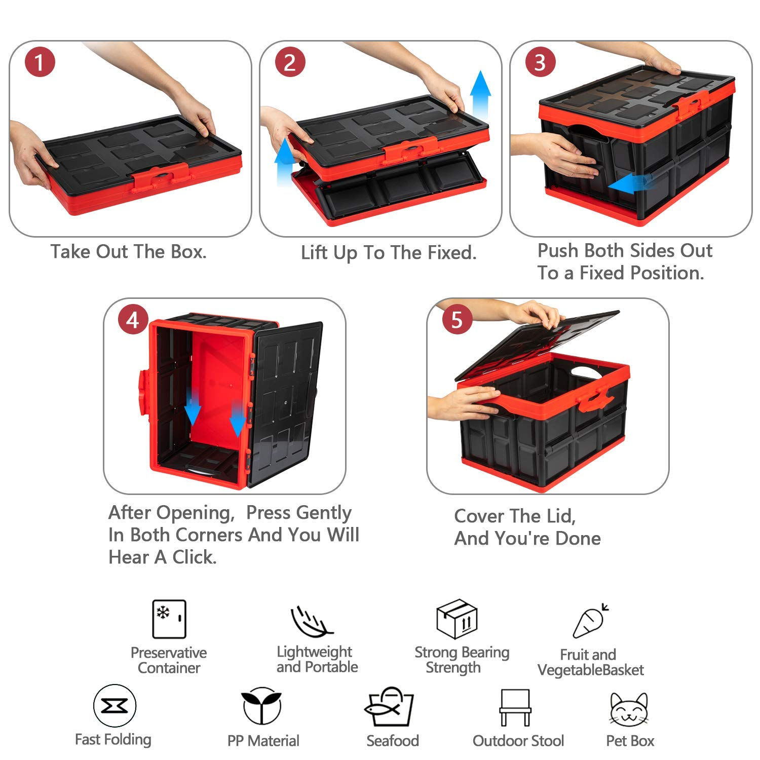Homesprit Collapsible Car Trunk Storage Box Undeformed Plastic Odorless Car Trunk Organizer Reusable Folding Moving Box Perfect for Home,Camp,Travel//with Reflective Sticker,Waterproof Bag,Lid. Small
