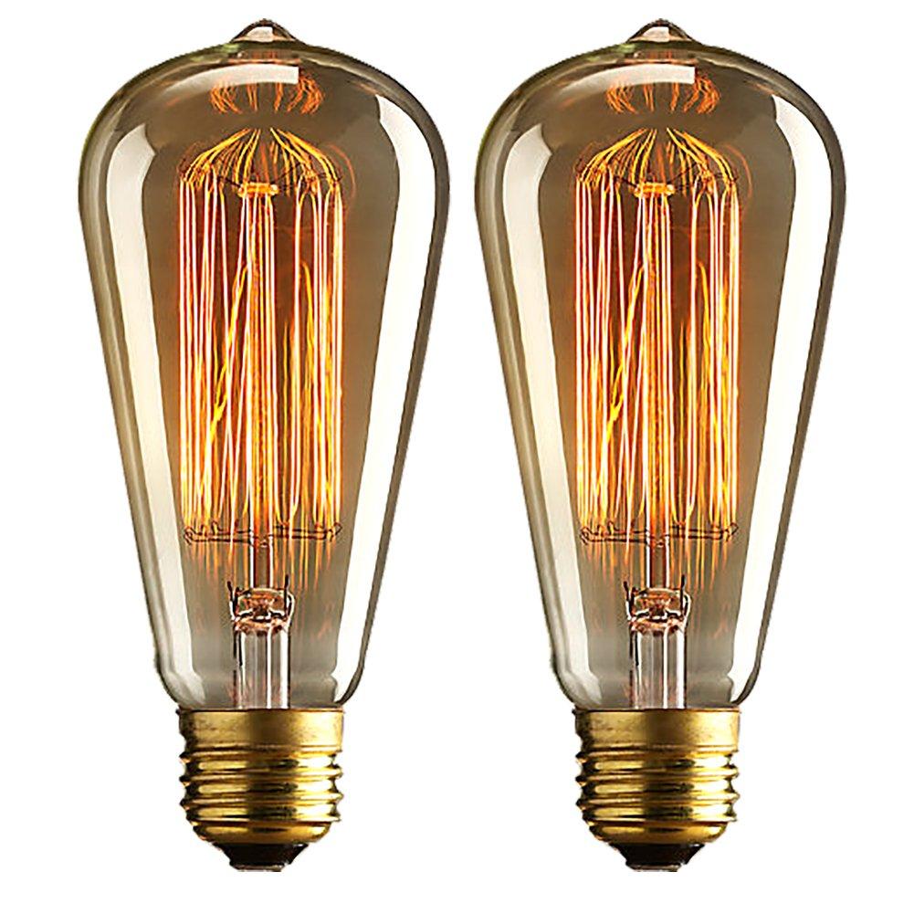 ZRAMO 2PACK 40W Retro Bulb Led String Lights Filament Incandescent Light Bulb For Retro Style Lighting String Lights and Pendants