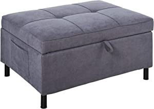 HOMCOM 2-in-1 Design Convertible Footrest Stool Single Sofa Bed with Side Pocket and Metal Frame Couch for Living Room, Grey
