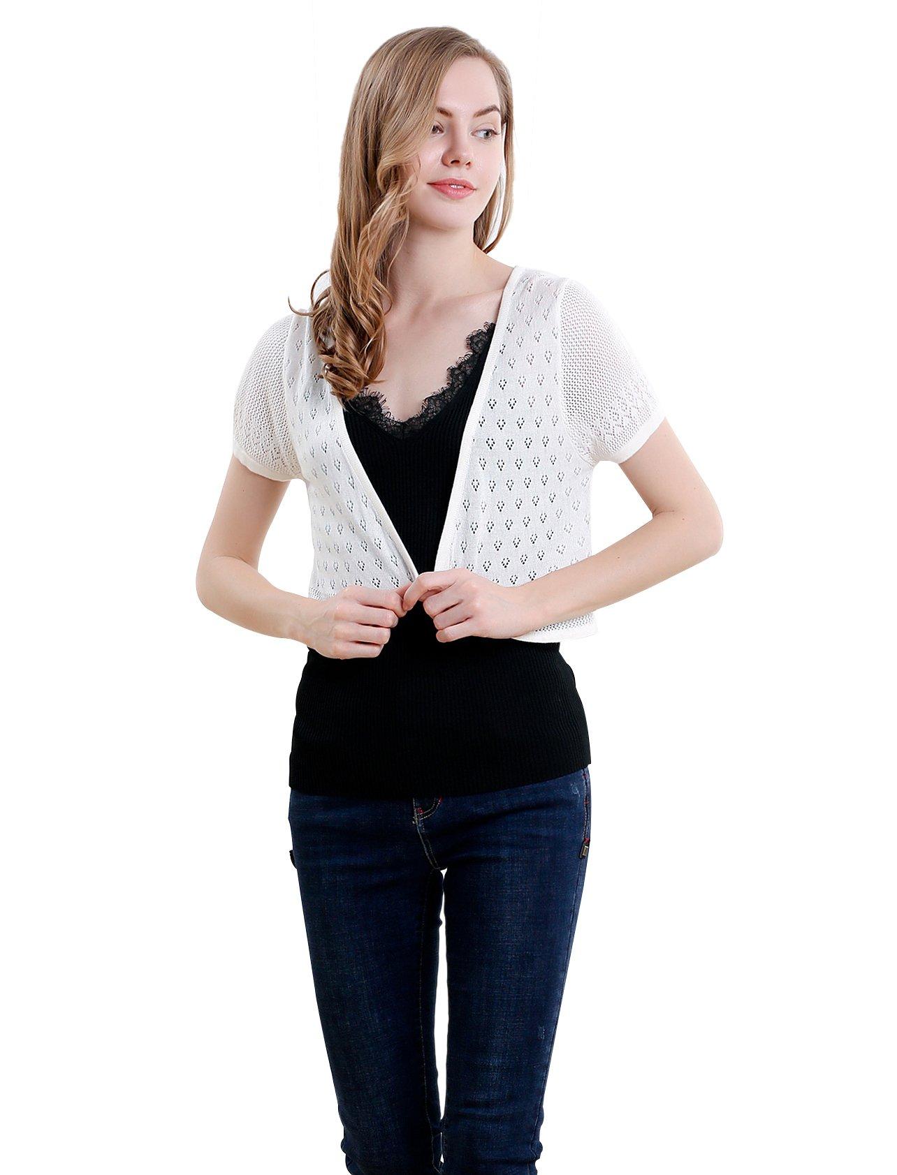 Vero Viva Women's Short Sleeve Bolero Shrugs Knit Lightweight Crocheted Cardigan(L,White)