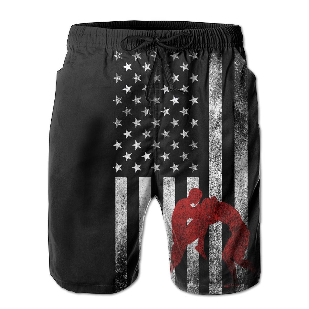ZQ-SOUTH ZrGo Men's Wrestling Wrestler USA Flag Quick-Dry Summer Beach Surfing Board Shorts Swim Trunks Cargo Shorts by ZQ-SOUTH