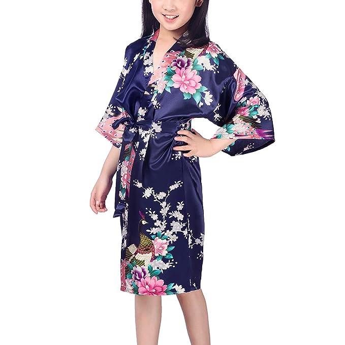 Chicas bata kimono satén traje traje ropa de noche con pavo real y flores: Amazon.es: Ropa y accesorios
